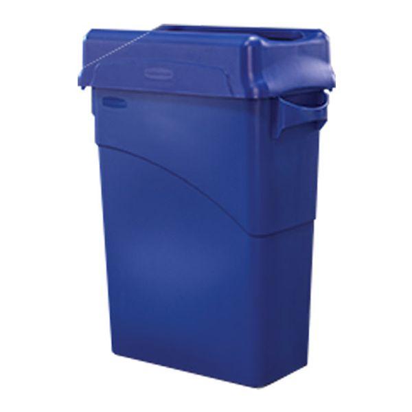 Lixeira Plástica com Alças Azul Slim Jim 60 Litros Rubbermaid