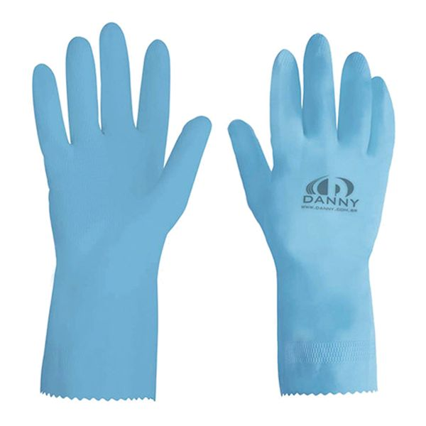 Luva de Látex Forrada Azul Maxi Danny