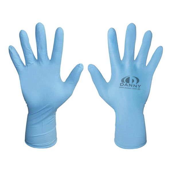 Luva Nitrílica Descartável Sensiflex Premium Azul Danny com 50 pares