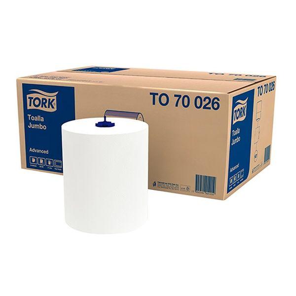 Papel Toalha Bobina Tork 20cmx250m com 6 rolos branco folha simples