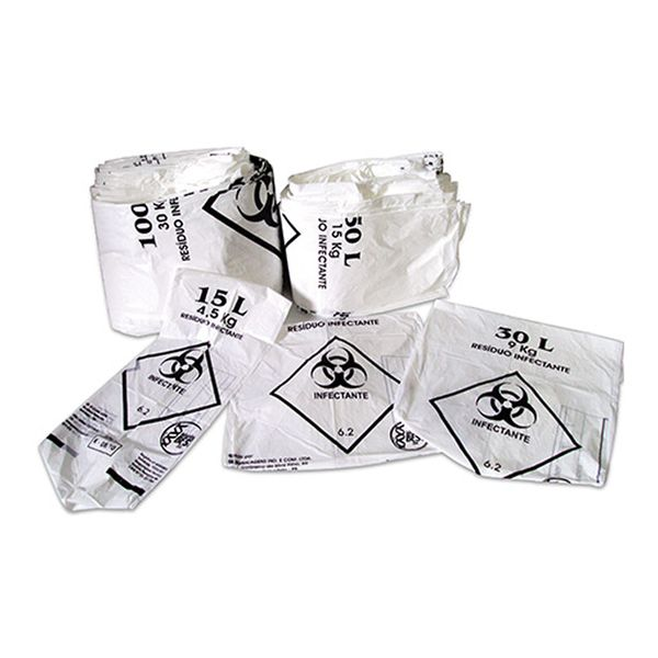 Saco de Lixo 100L Infectante branco 75x105x0,02 Bunzl com 100 unidades