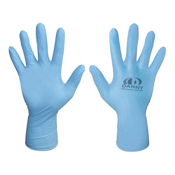 Luva Nitrílica Descartável Sensiflex Premium Azul Danny com 50 pares-496