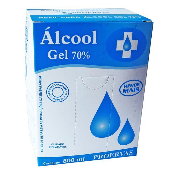 Álcool Gel 70 Proervas refil 800ml