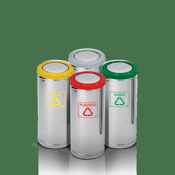 Coletor de Lixo Tampa Flip Top Aro Vermelho Artplan