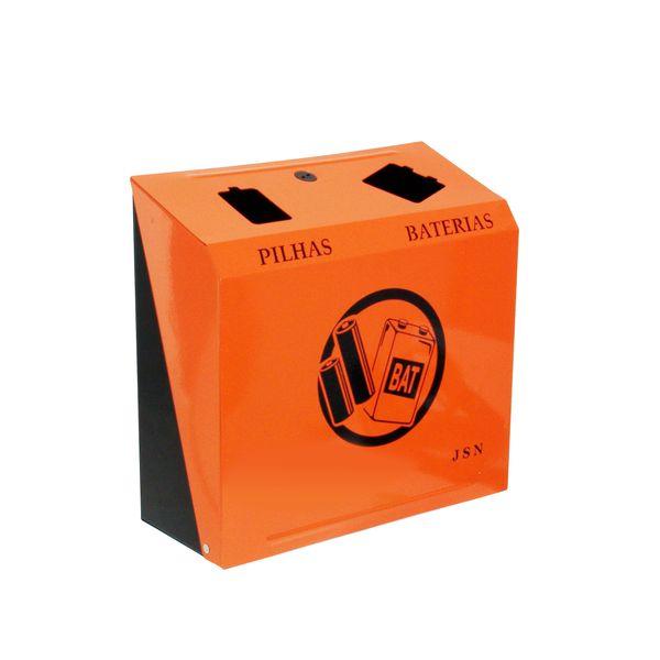 Cesto para descarte de Pilhas e Baterias com 3,8 Litros preto e laranja