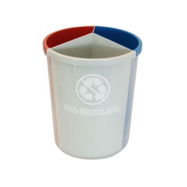 Lixeira Plástica para Coleta Seletiva com três divisões internas do lixo JSN