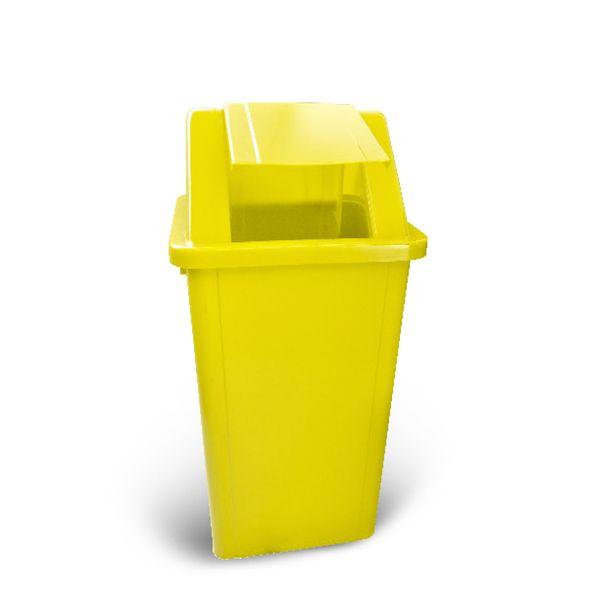 Lixeira com tampa vai e vem Amarela Adesivada 60 Litros Bralimpia