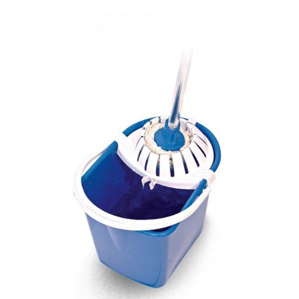 Mopinho Conjunto com Balde Espremedor Azul Refil Mop Úmido e Cabo de AlumÍnio Bralimpia