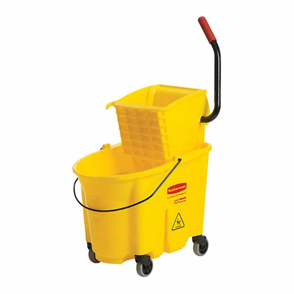 Balde Espremedor Amarelo Rubbermaid Ação Lateral Wave Brake® 24,6 Litros