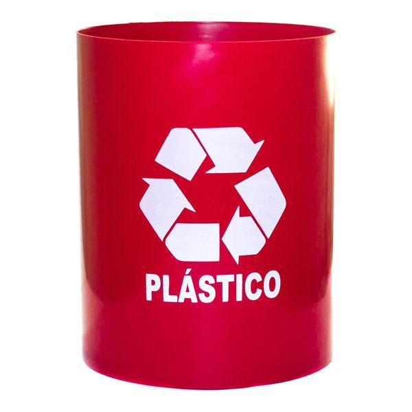 Cesto de Lixo Vermelho 14 Litros Adesivado Plástico