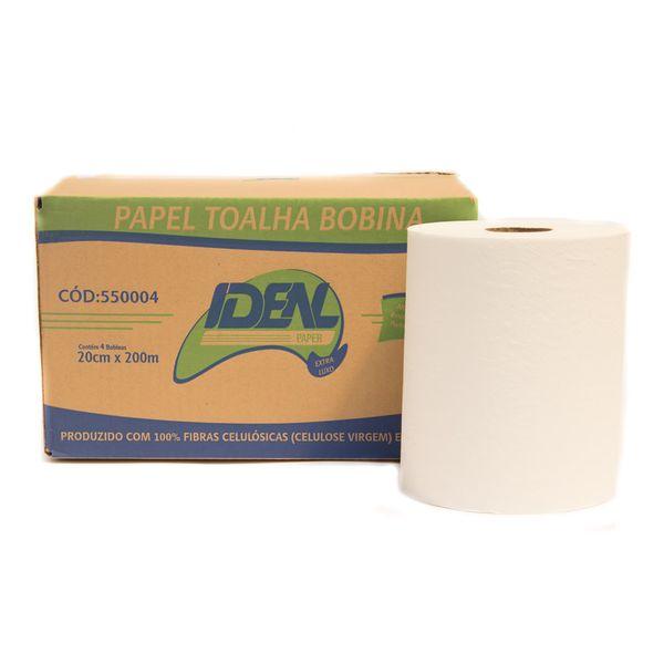 Papel Toalha Bobina Ideal 20cmx200m com 4 rolos branco folha simples