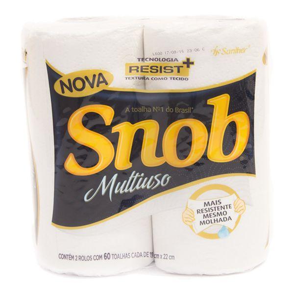Papel Toalha de Cozinha Snob com 2 rolos com 60 folhas dupla