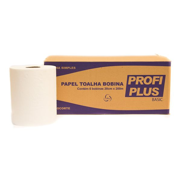 Papel Toalha Bobina Autocorte Profiplus Basic 28 Gramas 20cmx200m com 6 rolos branco folha simples