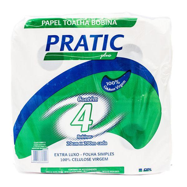 Papel Toalha Bobina Folha Simples Branco 20x200mx4 Pratic Plus com 4 bobinas