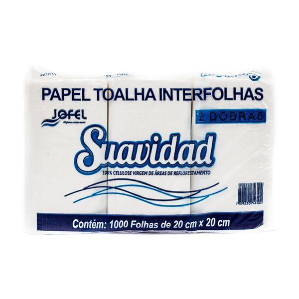 Papel Toalha Interfolha Folha Simples Branco 2 Dobras 20x20cm com 1.000 unidades Suavidad