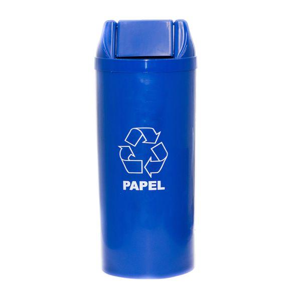 Cesto de Lixo Azul com Tampa Basculante 23 Litros Adesivado Papel