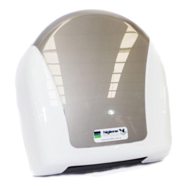 Dispenser para Papel Higiênico Rolão 300/600m Branco com Sobre Tampa Cromada