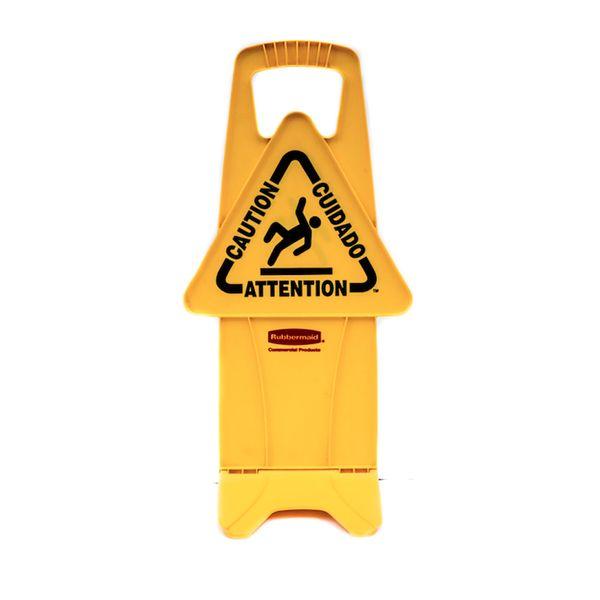Placa de Sinalização com aviso Multilingue Amarelo