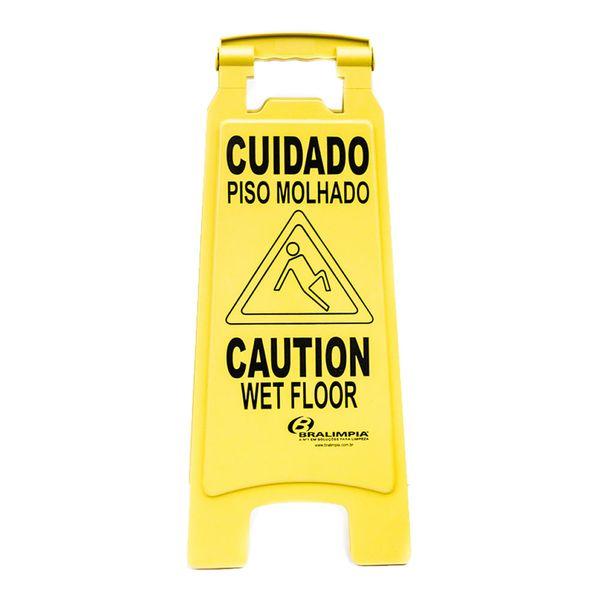 Placa Sinalizadora Caution Wet Floor Bralimpia