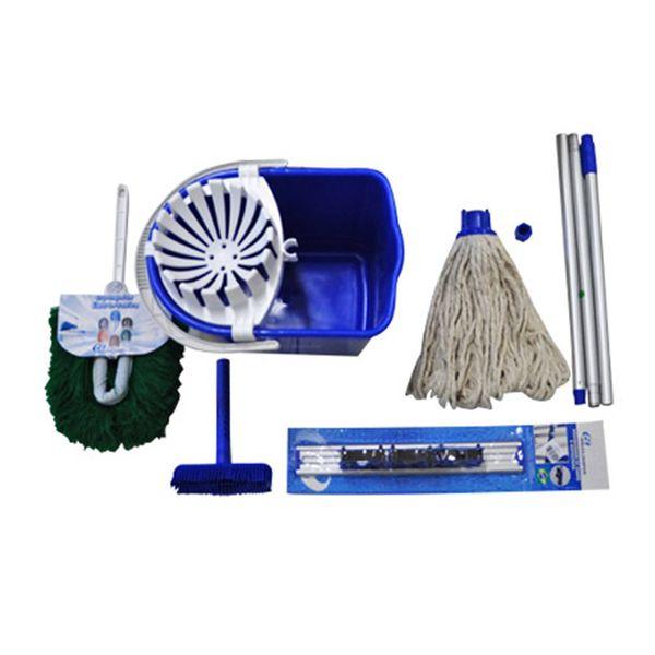 Kit Mopinho para Limpeza Pequeno Porte Azul Bralimpia