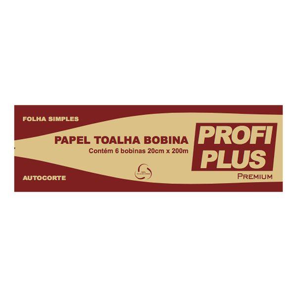 Papel Toalha Bobina 20x200mx6 Autocorte Folha Simples Profiplus Premium com 6 bobinas