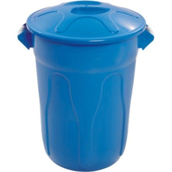 Lixeira Plástica 100 Litros Azul com Tampa JSN