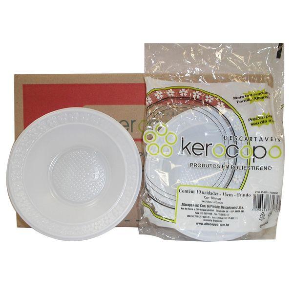 Prato Descartável Fundo para Sobremesa 15cm com 10 Unidades Kerocopo
