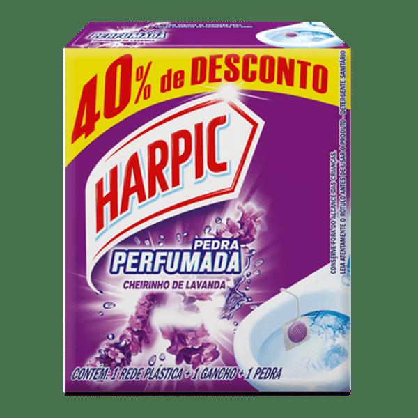 Pedra Sanitária Harpic 40 porcento de Desconto Aroma Plus Lavanda