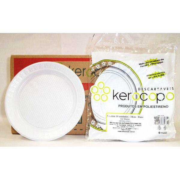 Prato Descartável para Sobremesa 18 cm com 10 Pacotes Kerocopo