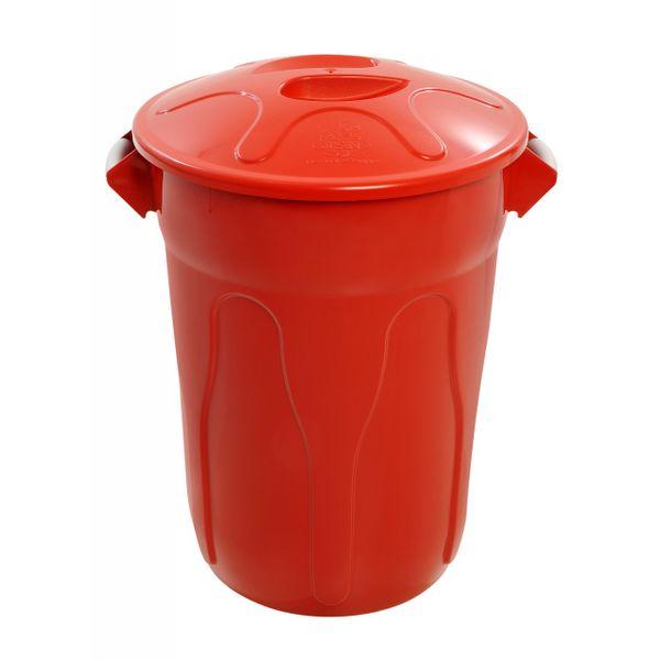 Lixeira Plástica 100 Litros Vermelha com Tampa JSN