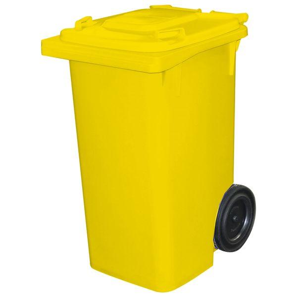 Lixeira com Tampa e Roda 120 Litros Amarelo Bralimpia