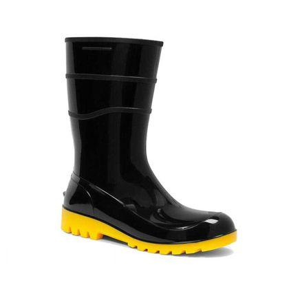 d35a254170bed Bota de PVC Preta Cano Curto Solado Amarelo Fujiwara - Net Suprimentos