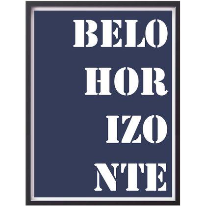Tecido Adesivo Flok Quadro 33X44Cm Palavras Belo Horizonte